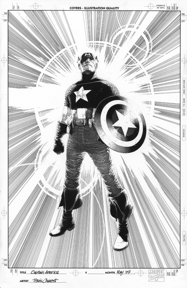 Cover to Captain Ameria The Chosen #2 black and white by Travis Charest