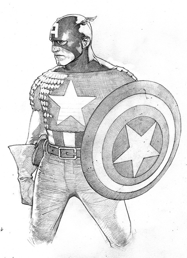Sketch of the cover to Captain America The Chosen #1