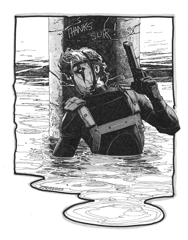 Grifter Sketch in the water